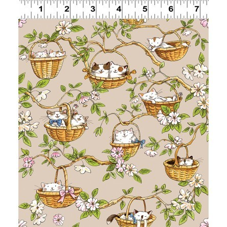 Cats in the Garden fabric, baskets