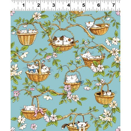 Cats in the Garden fabric - baskets