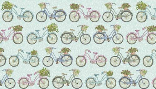 Antique Garden, Bicycles Blue from Makower Fabrics