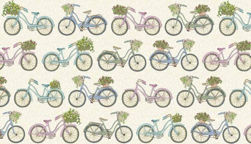 Antique Garden, Bicycles Cream from Makower Fabrics