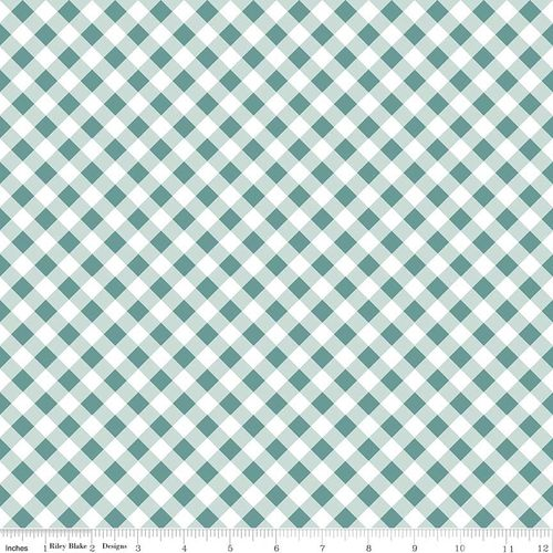Wonderland 2 Teal Gingham from Riley Blake Fabrics.