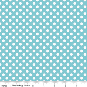 Riley Blake Knits - Aqua White Dots - Offer £16 mtr save £4 mtr