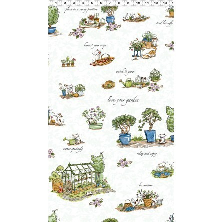 Cats in the Garden fabric