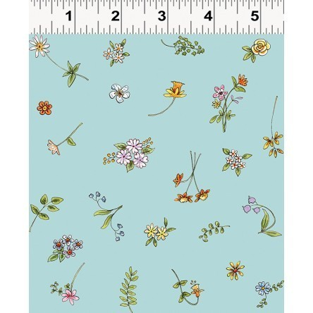 Cats in the Garden fabric, flowers