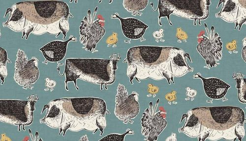 Home Grown Animals Makower Fabrics