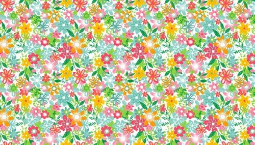 Fruity Friends, Floral on white from Makower UK