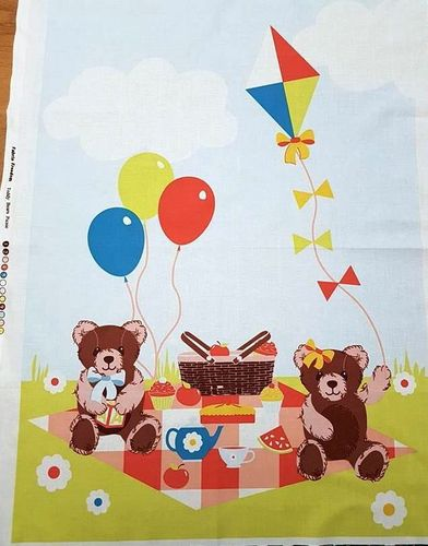 Teddy Bear Picnic fabric panel