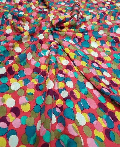 Viscose Print, Multi Coloured Spots