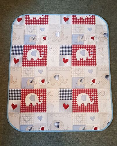 Baby Pram Quilt Elephants,Blue.